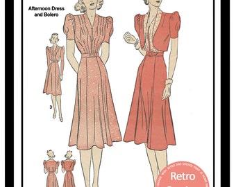 1940s Tea Frock and Bolero Sewing Pattern -  Paper Pattern Version