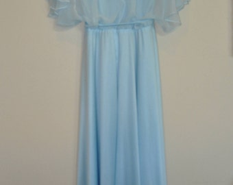 Vintage 70's 80's Prom Formal Bridesmaid Dress Light Blue ILGWU