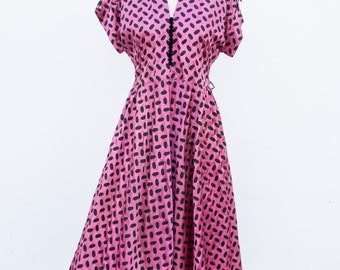 vintage 1960s fuchsia overlay party dress | M/L