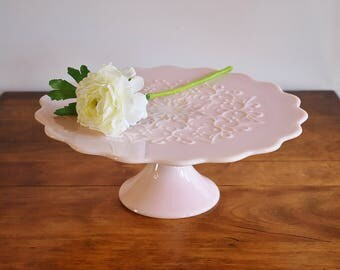 Fenton Spanish Lace Pink Milk Glass Cake Stand, 1950s Blush Pink Rose Pastel Pink Wedding Cake Dish, Cupcake Stand, Bridal, Gift for Her