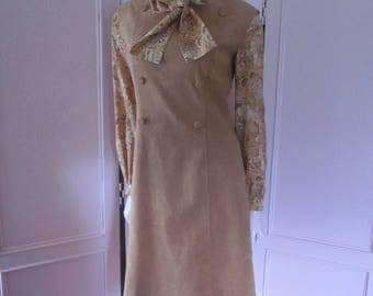 "1970s Tan Ultra Suede Jumper-Style Dress by ""POSH,"" Size 6"