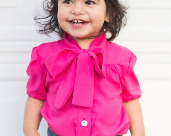 Girls Madison Blouse PDF Sewing Pattern - Newborn to 12 years, blouse or dress length, collar or tie neck, short/long/puff sleeves