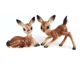 Plastic Deer Figurines, Kitsch Animals, Vintage Christmas Deer Decor