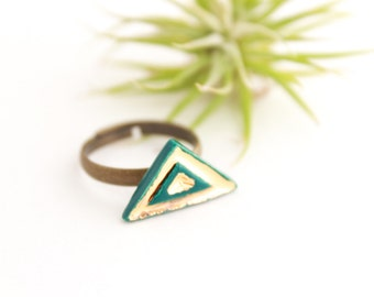 Gold Triangle Ring, Colorful Ceramic Ring, Teal Ring, Gift for Her under 40, Geometric Ring, Adjustable Ring, Ceramic Jewelry, Gold Gift