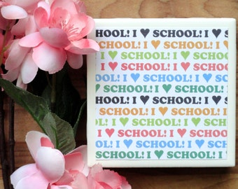 School Coasters - Handmade Coasters - Coasters - Drink Coasters - Tile Coasters - Ceramic Coasters - Ceramic Tile Coasters - Coaster Set