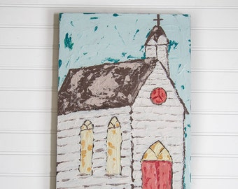 Church Painting on Wood, Textured Wooden Church Painting, Farmhouse Style Wall Decor, Rustic Wooden Church Acrylic Painting, Blue, White