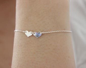 Silver heart bracelet, dainty heart bracelet,  simple rose gold bracelet, bridesmaid gift, gift for mom, child bracelet, everyday jewelry