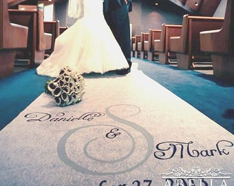 Wedding Aisle Runner - NEW - Personalized Hand-Painted Monogram with Free Glitter Overlay