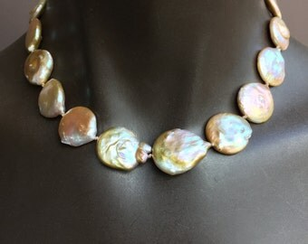Huge Iridescent Coin  Pearl  Necklace/18.5 Inches/Mother of the Bride/Gift forHer