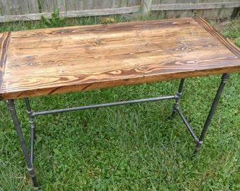 Rustic Pine, Black Pipe Leg Desk, Distressed, Galvanized