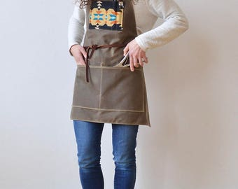 Waxed Canvas, Pendleton® Wool, and Leather Apron