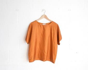 80s Copper Batwing T-Shirt · Oversize 80s Metallic Gold Shirt · Metallic Copper Shirt · Shiny Copper Top · Vintage 80s Copper Blouse · M