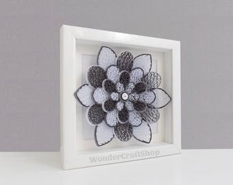 floral home decor, single flower, modern minimalist wall art, gray wall art, paper flower for wall, housewarming gift, unique gift for him