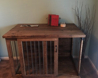 Custom Sliding Door Dog Kennel Crate - Coffee or Entry Table - Dual Purpose Furniture