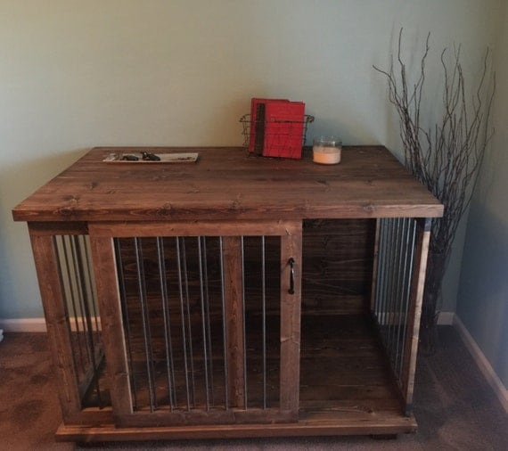 Custom Sliding Door Dog Kennel Crate Coffee Or Entry Table