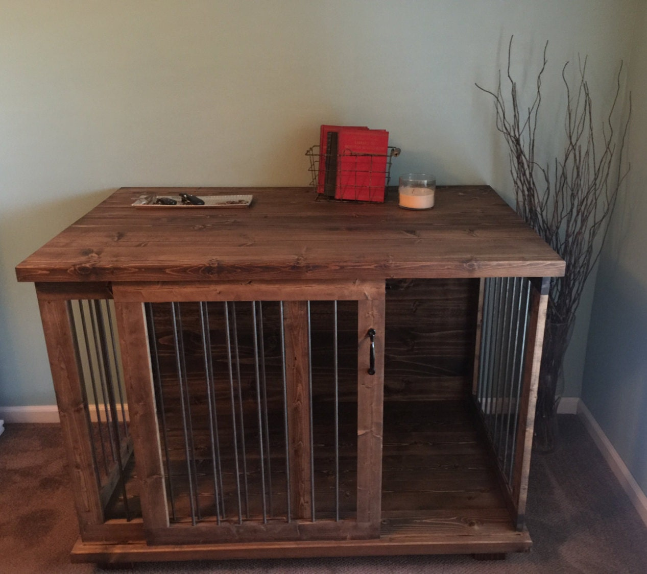 Custom Sliding Door Dog Kennel Crate - Coffee or Entry Table - Dual Purpose  Furniture - Dog Crate Furniture Etsy