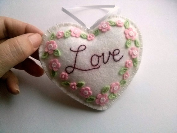 Wedding Gift Ornaments: Wool Felt Love Embroidered Heart Ornament Wedding Gift