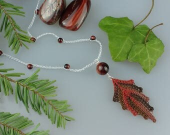 Hand Crocheted Leaf Pendant Microcrochet Necklace Tiger Eye Sterling Silver Cotton Forest Leaves Tree Woodland Natural Nature Autumn Brown