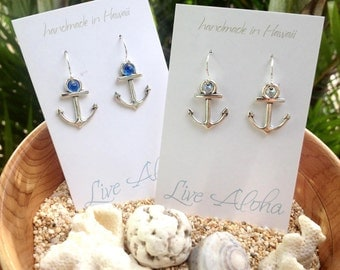 sterling silver anchor earrings 2 for 22 handmade in Hawaii girlfriend gift for her sea lover beach jewelry nautical jewelry beachy gift