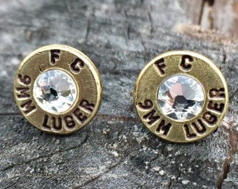 9mm Stud Earrings - Brass Bullet Casings