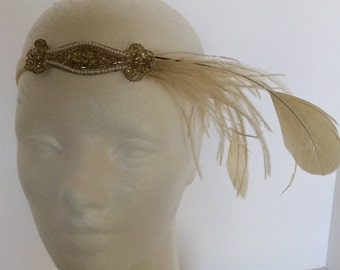 Great Gatsby Headpiece  Ostrich feather headband 1920s gold  gatsby dress Stretch Elastic Velvet champagne gold ostrich feather fascinator