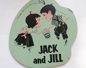 "Antique Jack and Jill Illustration-  Illustrated Wall Hanging- Old Library/School Wall Cardboard Sign 12"" x 11 1/2"""