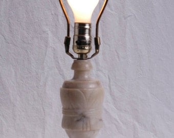 Neoclassical Antique Alabaster Lamp Hand Carved Italian Table Light Fixture Alabaster 1940s Home Decor