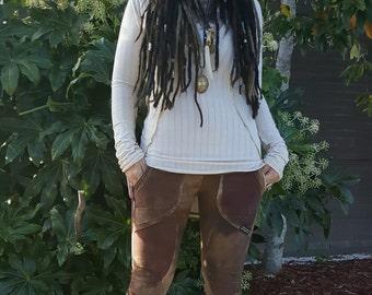 CUSTOM hand painted hemp Tomb Raider pocket leggings hand dyed clothes organic clothes