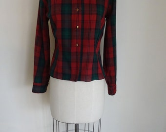 60s Blouse Red Plaid Tapered Librarian Mad Men Blouse