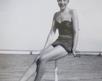 She's All That - Cute 1950's Bathing Beauty At The Beach Snapshot Photo - Free Shipping