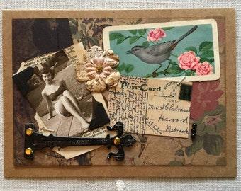 Vintage Collage Card ~ Vintage Photograph & Ephemera ~ Framable Art ~ Bathing Beauty - Vintage-Inspired Card ~ Handmade ~ One-of-A-Kind Card