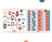 Valentines Day Air Mail Digital Clipart and Papers - Hand-Drawn Digital Illustrations- Commercial Use Royalty Free - Air Mail Kit