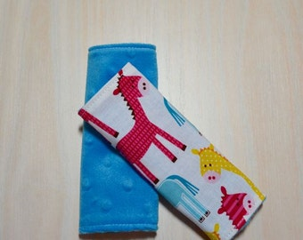 Car Seat Strap Covers - White w/ Horses, blue, red, yellow