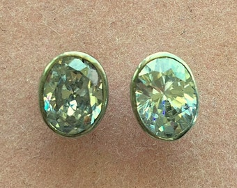 Vintage Oval White Topaz Gemstones and Sterling Silver Post/Stud Earrings