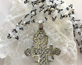 Sterling Silver Coptic Cross With Moonstone and Silver Rosary Chain
