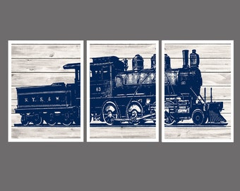 Train Wall Decor, Boys Bedroom Decor, Train Decor, Train Wall Art, Print, Navy Blue Gray Decor, Kids Bedroom Decor, Choose Your Color