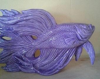 Purple Betta Fish, Handmade, Glazed, Statue