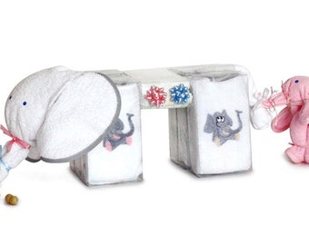 Good Luck Elephant Diaper Cake Gift for Twins