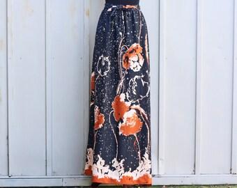 60s Maxi Skirt - Floral Hippie Skirt - Vintage Psychedelic Skirt - Abstract Floral Skirt - 70s Boho Skirt - Polyester Bohemian Skirt - 1970s