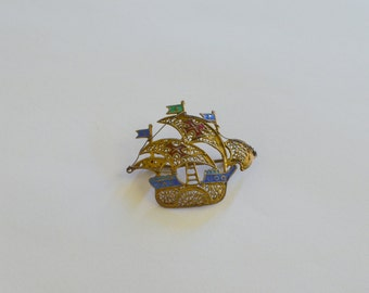 Vintage Nautical brooch Sailing Ship pin Victorian Steampunk Pirate boat Clipper Spanish Galleon filigree red cross Christopher Columbus