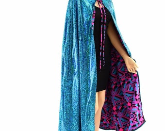"""50"""" or 60"""" Long Full Length REVERSIBLE Turquoise on Black Shattered Glass and Pink & Black Aztec Hooded Cape Cloak 154020"""