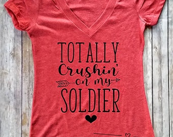 Totally Crushin on My Soldier,Marine,Coastie,Airman,MilitaryWife,DeploymentTee,Womens Clothing, Army Wife,USMC Girlfriend,Summer Tanks,Tanks