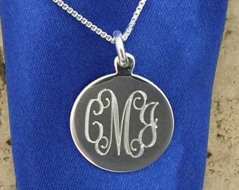 18mm Round Sterling Silver Engraved Monogram Charm Pendant comes with choice of 16, 18, or 20 Inch Sterling Silver Box Chain Necklace 07694