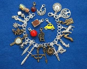 Once Upon a Time 26 charms inspired bracelet custom charm fairy-tale book prince princess magic love