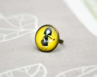 Girl with a guitar ring yellow black rock art artist adjustable