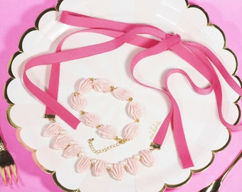 Pink Whipped Cream Necklace & Bracelet