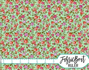 MINT GREEN FLORAL Fabric by the Yard Fat Quarter Fabric Tiny Coral Flowers Fabric Quilting Fabric Apparel Fabric 100% Cotton Fabric w7-36