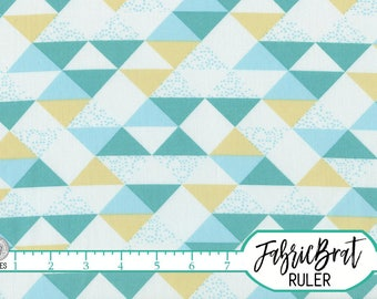 TEAL & YELLOW TRIANGLE Fabric by the Yard Fat Quarter Aqua Geometric Triangle Fabric Quilting Fabric 100% Cotton Fabric Apparel Fabric t2-16