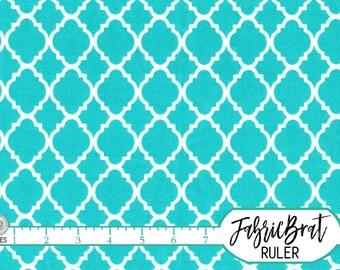 TEAL AQUA MOROCCAN Fabric by the Yard, Fat Quarter Quatrefoil Fabric Aqua Fabric Teal Quilting Fabric 100% Cotton Fabric Apparel Fabric w3-3