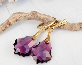 Amethyst Swarovski Earring-Swarovski Crystal Jewellery-Purple Dangle Drop Earring-Swarovski Baroque-24k Gold Plated Earring-Bridesmaids Gift